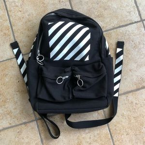 Off-White Diagonal Striped Backpack Bag
